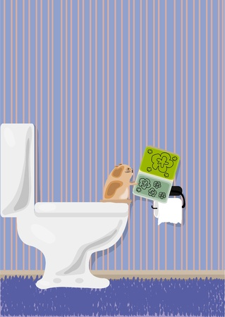 illustration of hamster reading magazine in toilet  Vector