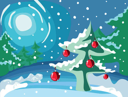 x mas card: Tree with evening balls in the forest at night, illustration