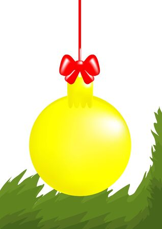 hangs: Christmas yellow ball with red ribbon hangs over coniferous twig, illustration Illustration