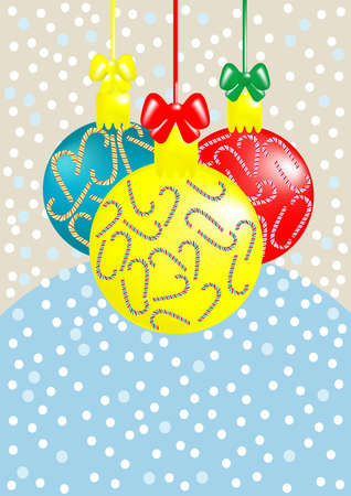 Three balls with candy snowfall on the background, illustration Vector