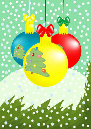 firtrees: illustration of Christmas composition: three balls with fir-trees, branch, snowfall,  snowdrift Illustration