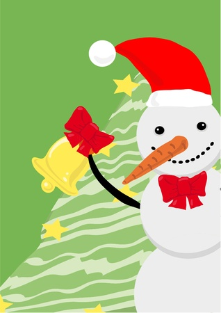 Snowman holding bell with Christmas tree near by, illustration Stock Vector - 9727982