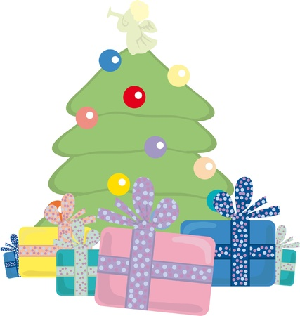illustration of Christmas tree with presents near by Vector