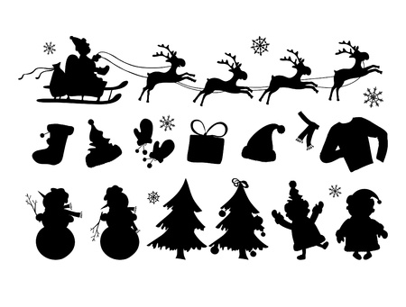 illustration of Christmas silhouettes in lines  Vector
