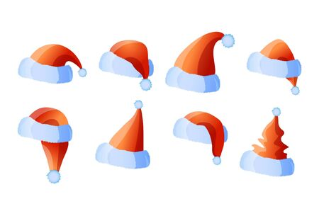 santaclaus: illustration of set of eight caps of Santa-Claus  Illustration
