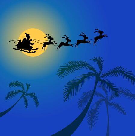 illustration of Santa Claus with reindeers flying over Africa