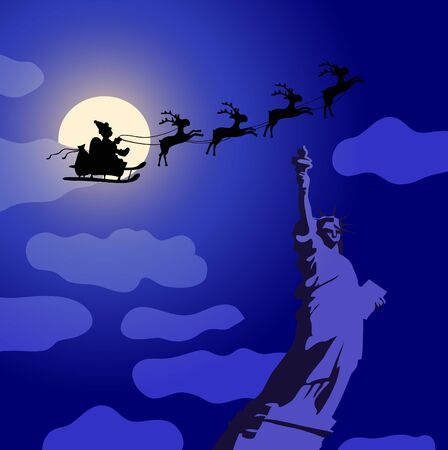 illustration of Santa Claus with reindeers flying over America  Vector
