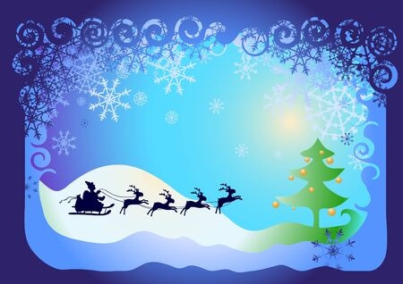illustration of card: Santa Claus in sled with reindeer and Christmas tree with balls  Vector