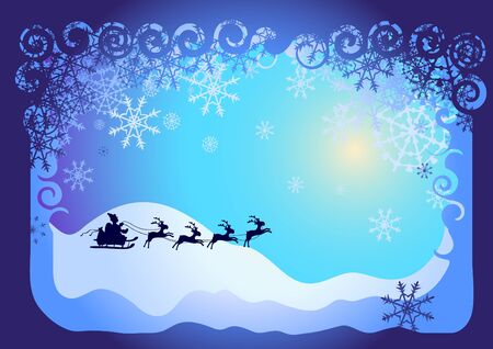 illustration of Christmas card: Santa Claus in sled   Stock Vector - 9728313