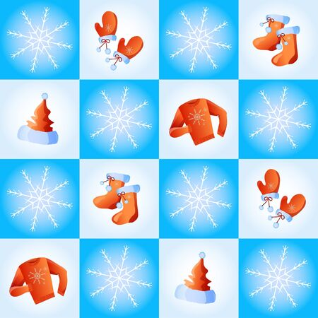 illustration of seamless with snowflakes and festive winter clothes   Vector