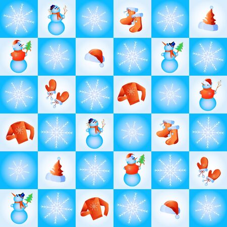 illustration of snowflakes, snowmen, santa hats and winter clothing in blue squares Vector