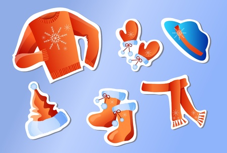 illustration of stickers winter holiday clothes on a blue background Stock Vector - 9726750