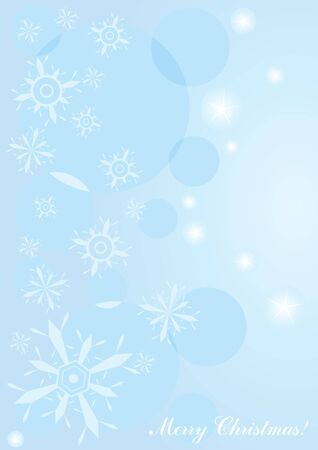 frosty: illustration of blue Christmas background with snowflakes and lights    Illustration
