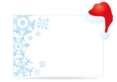 Vector illustration of a white Christmas greeting card with a cap