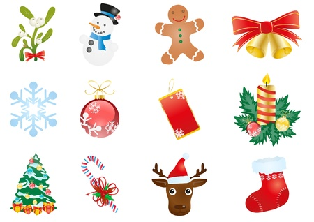 illustration of Christmas elements isolated on a white background  Vector