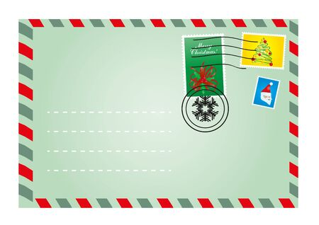 Vector illustration of Christmas envelope with cute stamps Vector
