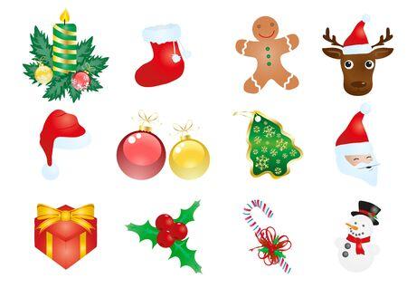 christmas elements: illustration of Christmas elements isolated on a white background  Illustration