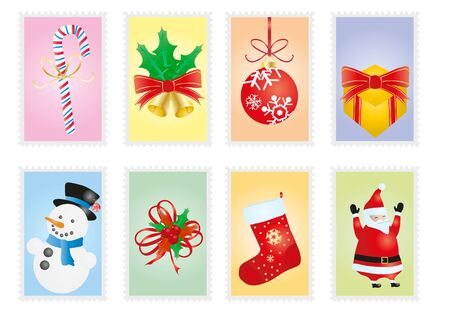 postage stamps: illustration of collection of Christmas postage stamps Illustration