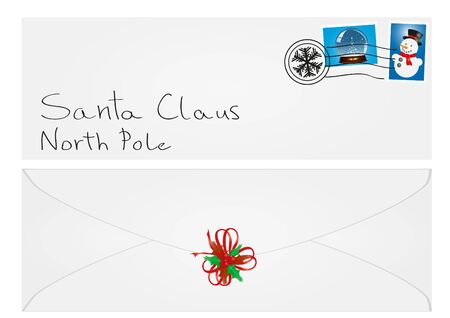 illustration of an envelope with Santa Claus address and mistletoe  Vector