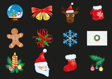 illustration of collection of Christmas icons  Vector