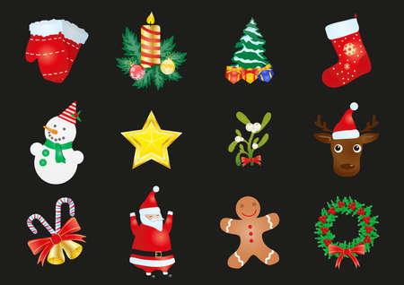 illustration of set of Christmas stickers  on a black background  Vector