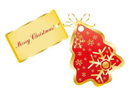 illustration of a red card in the shape of a tree with the text Merry Christmas Vector