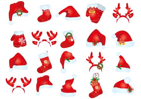 illustration of collection of santa claus hats in different variants Vector