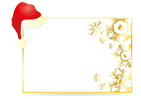 illustration of a white Christmas greeting card with a cap  Vector