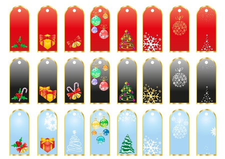 A collection of red, black and blue Christmas stickers Vector
