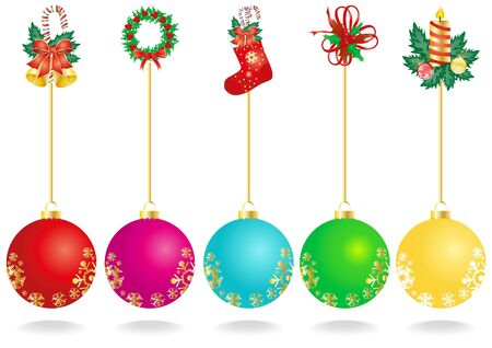 illustration of Christmas decoration with color balls  Vector