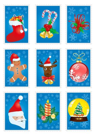 A collection of blue greeting cards with Christmas symbols  Vector