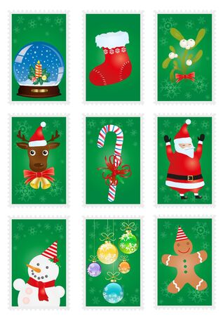 A collection of green greeting cards with Christmas symbols  Vector