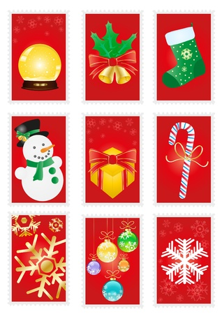 A collection of red greeting cards with Christmas symbols Vector