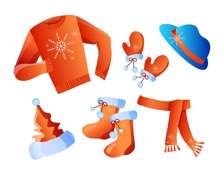 winter clothes: illustration of winter holiday clothes isolated on a white  background