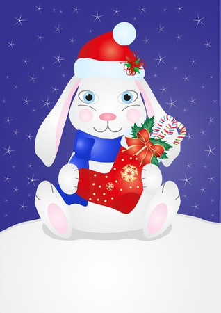 Image of a cute smiling rabbit in Christmas cap sitting on snow and holding stocking Vector