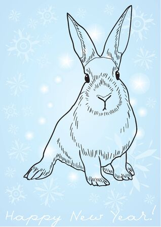 year of the rabbit: Monochrome image of a rabbit against blue background with snowflakes and Happy New Year below