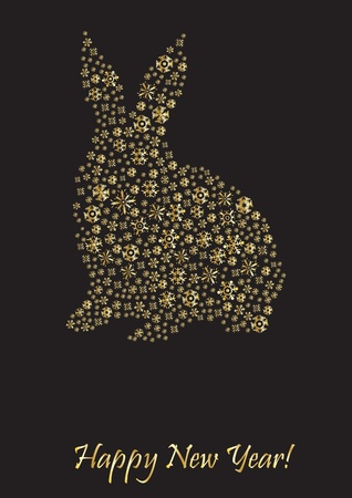 year of the rabbit: Rabbit shape of snowflakes with Happy New Year below Illustration