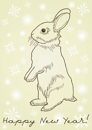 rabbit standing: Monochrome image of a rabbit standing on hind legs against yellow background with snowflakes