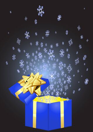 illustration of open blue giftbox with snowflakes flying out it Vector