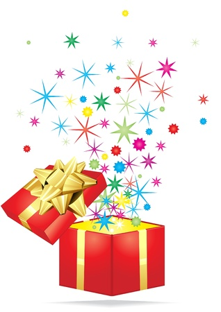 Open gift with colorful stars flying out it on a white background