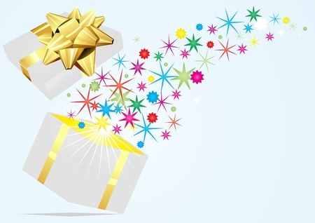 Open present with colorful stars flying out it on a blue  background  Ilustracja