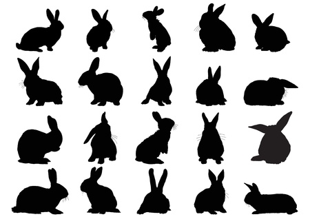 Conjunto de siluetas negras de conejos aislados en blanco