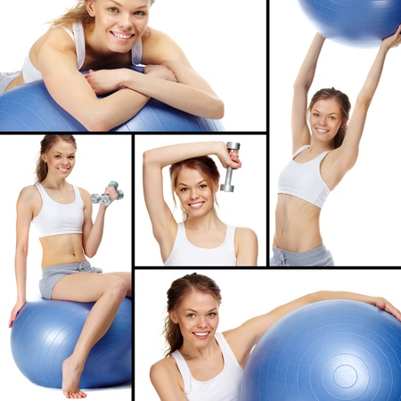Collage of a young girl with blue gymnastic ball and dumbbells  photo