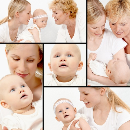 Collage of happy grandmother, mother and cute baby girl photo