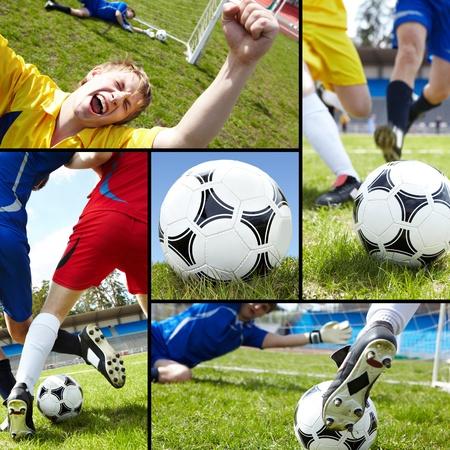 dinamismo: Collage di pallone da calcio sul campo con i calciatori e le gambe Archivio Fotografico