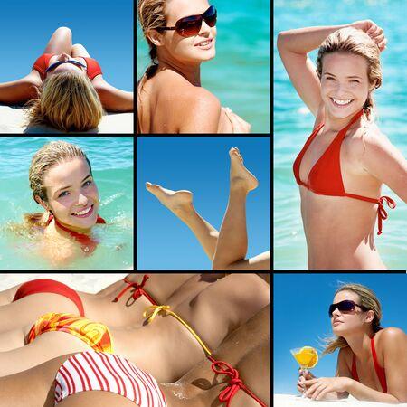 Collage of happy girl enjoying summer vacation photo