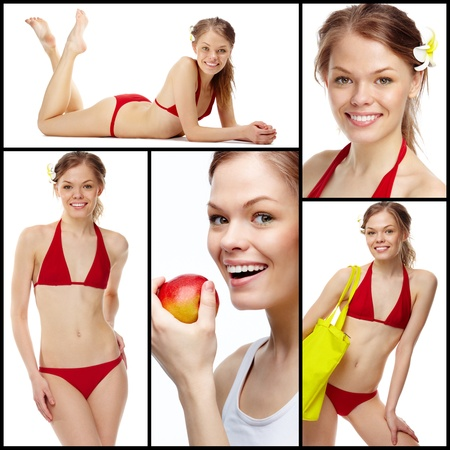 Collage of a young girl in red bikini isolated on white photo