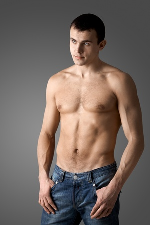Image of handsome man with bare torso posing before camera Stock Photo - 9805312