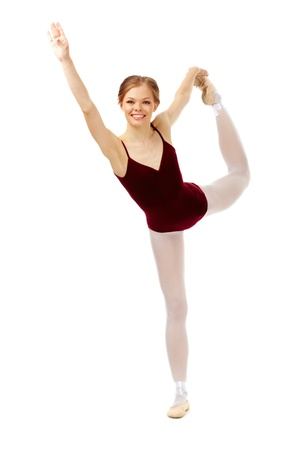 Portrait of charming ballerina performing dance on white Stock Photo - 9812967