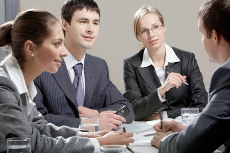 associate: Portrait of colleagues planning their work in office Stock Photo